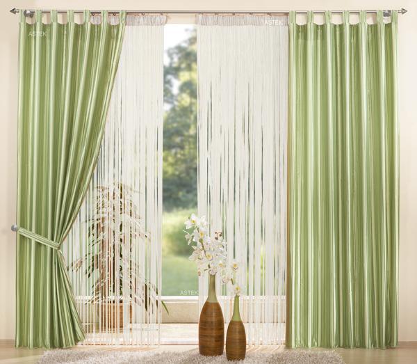 set 4 teile vorhang gestreift fadengardine ebay. Black Bedroom Furniture Sets. Home Design Ideas