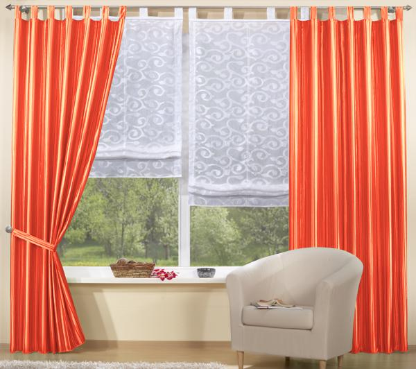 set 4 teile vorhang gestreift und raffrollo ebay. Black Bedroom Furniture Sets. Home Design Ideas
