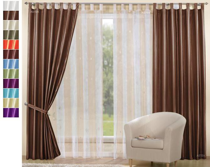 set 4 teile vorhang gestreift u schal organza sherli ebay. Black Bedroom Furniture Sets. Home Design Ideas