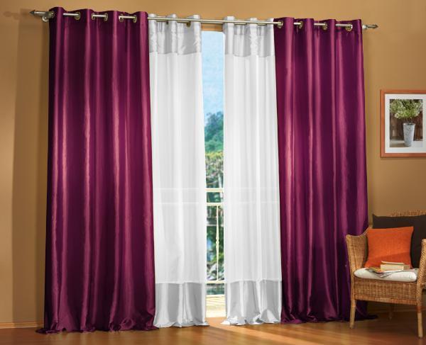 sen gardinen set 20330 brombeer 245x140 20331 wei 245x140 ebay. Black Bedroom Furniture Sets. Home Design Ideas