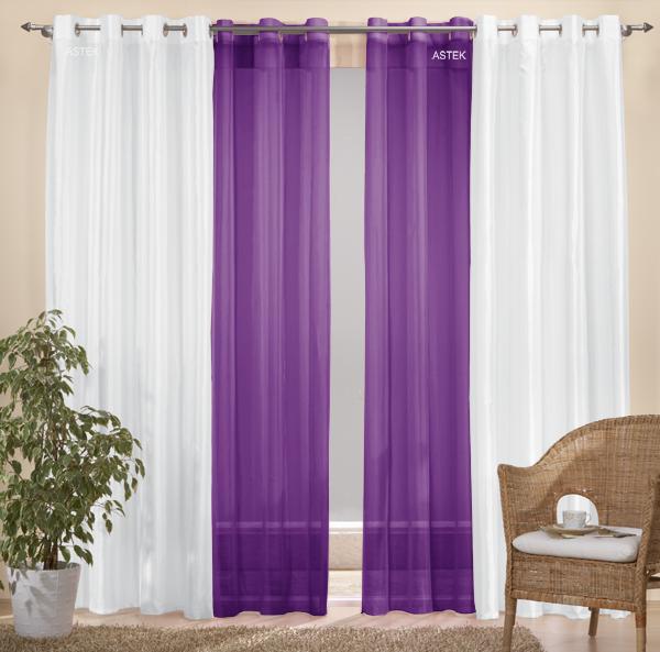 sen gardinen set 20330 wei 245x140 20332 lila 245x140 ebay. Black Bedroom Furniture Sets. Home Design Ideas