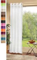 Transparente unifarbene Gardine mit Ösen. Dicht gewebtes Voile für leichten Sonnenschutz. Bleibandabschluß.