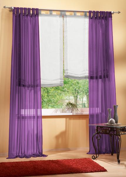 set 4 teile gardine voile und raffrollo farben 2 ebay. Black Bedroom Furniture Sets. Home Design Ideas