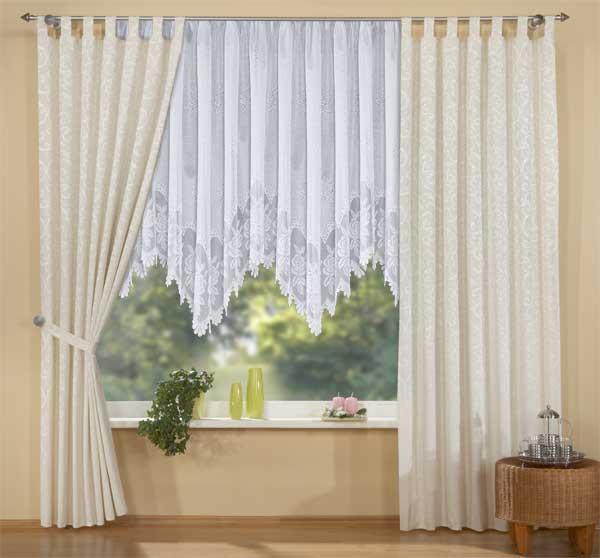 gardinen set 3 teile vorhang und jacquard bogenstore ebay. Black Bedroom Furniture Sets. Home Design Ideas