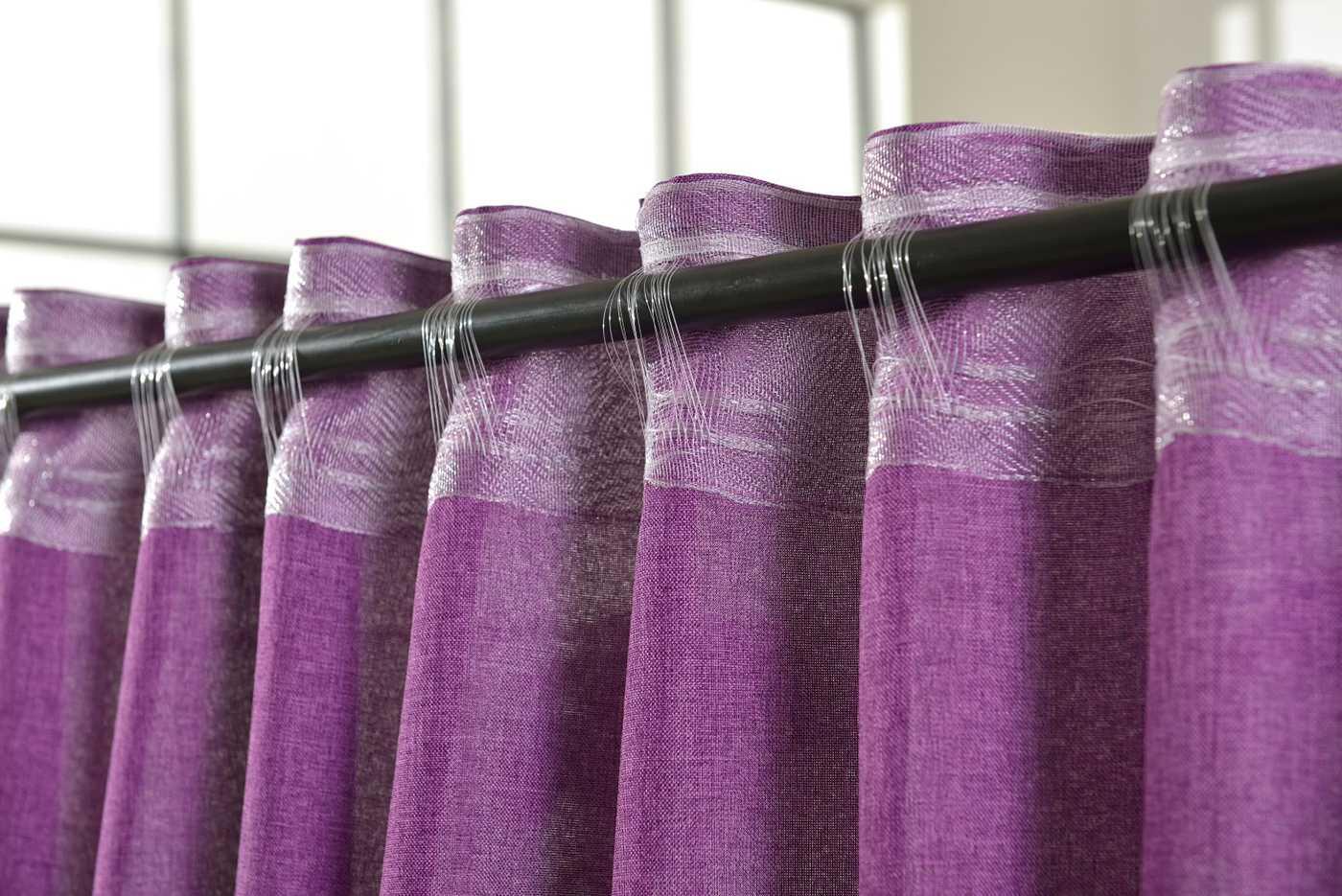 vorhang schlaufen cationic blickdicht leinen optik 2 st ck 245x140 fuchsia ebay. Black Bedroom Furniture Sets. Home Design Ideas