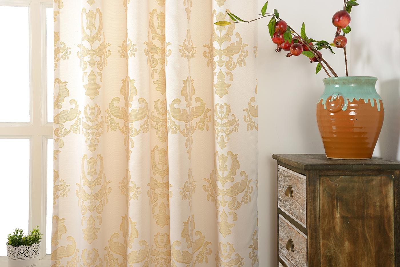 vorhang jacquard gardine verdeckte schlaufen barock lurex sand gold 245x140 ebay. Black Bedroom Furniture Sets. Home Design Ideas