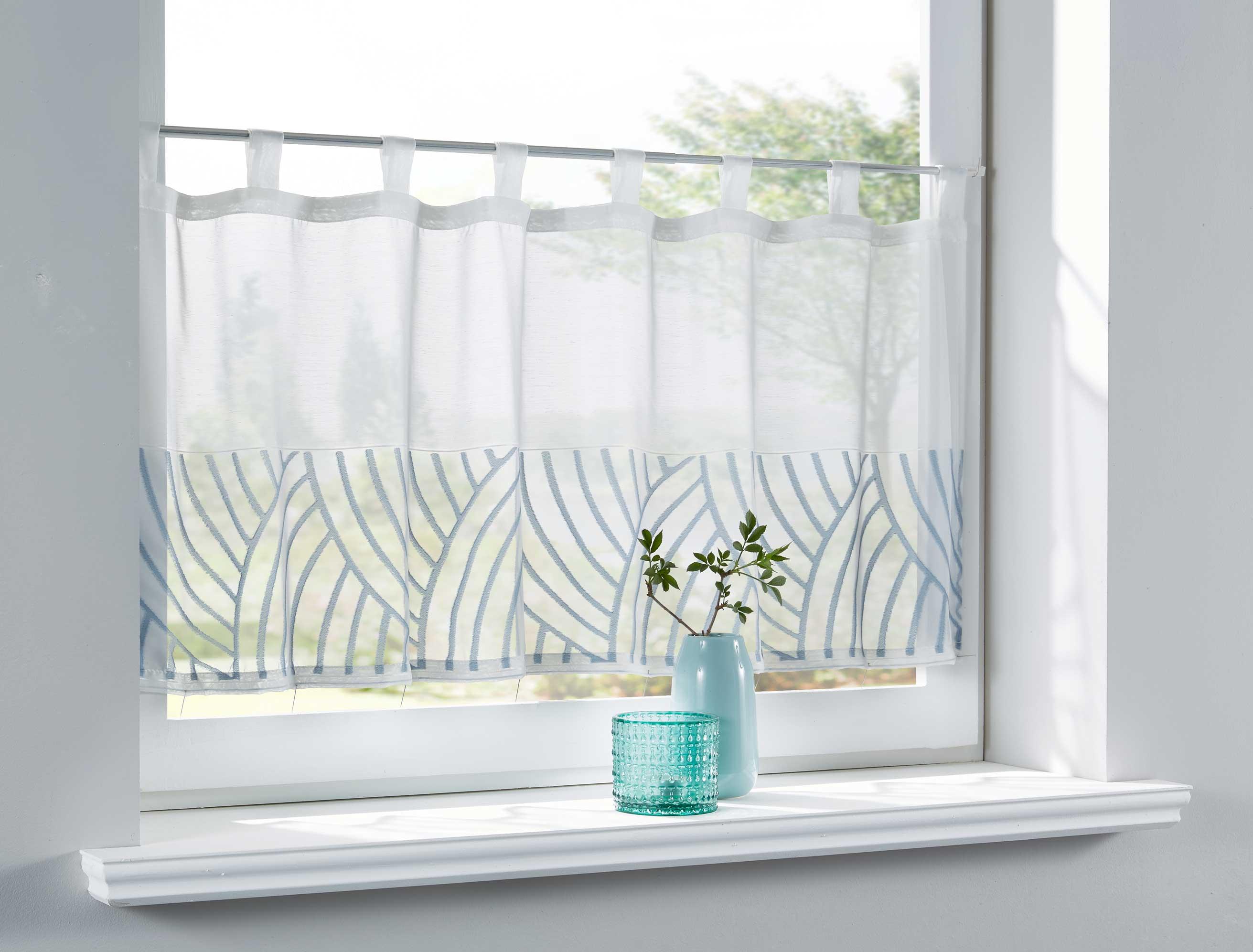 scheibengardine voile jacquard schlaufen gardine modern muster ebay. Black Bedroom Furniture Sets. Home Design Ideas