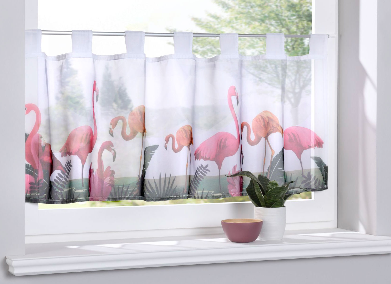 Scheibengardine »Digital Druck« Voile Kurzgardine HxB 40x120 cm Orchidee Grau