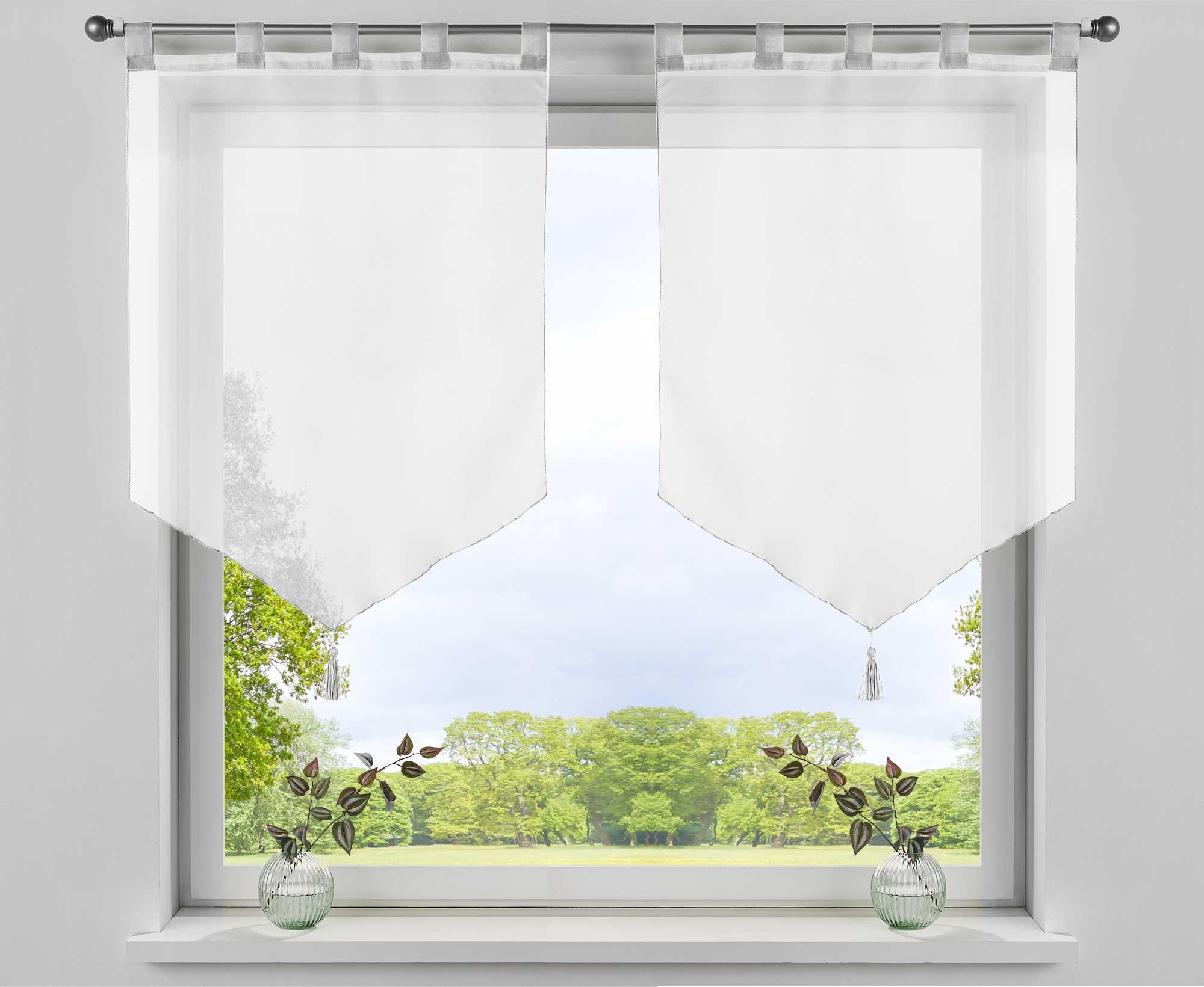 Details zu 18 x Scheibengardinen »LYON« Voile Schlaufen Küche Spitzpanneaux  Scheibenhänger