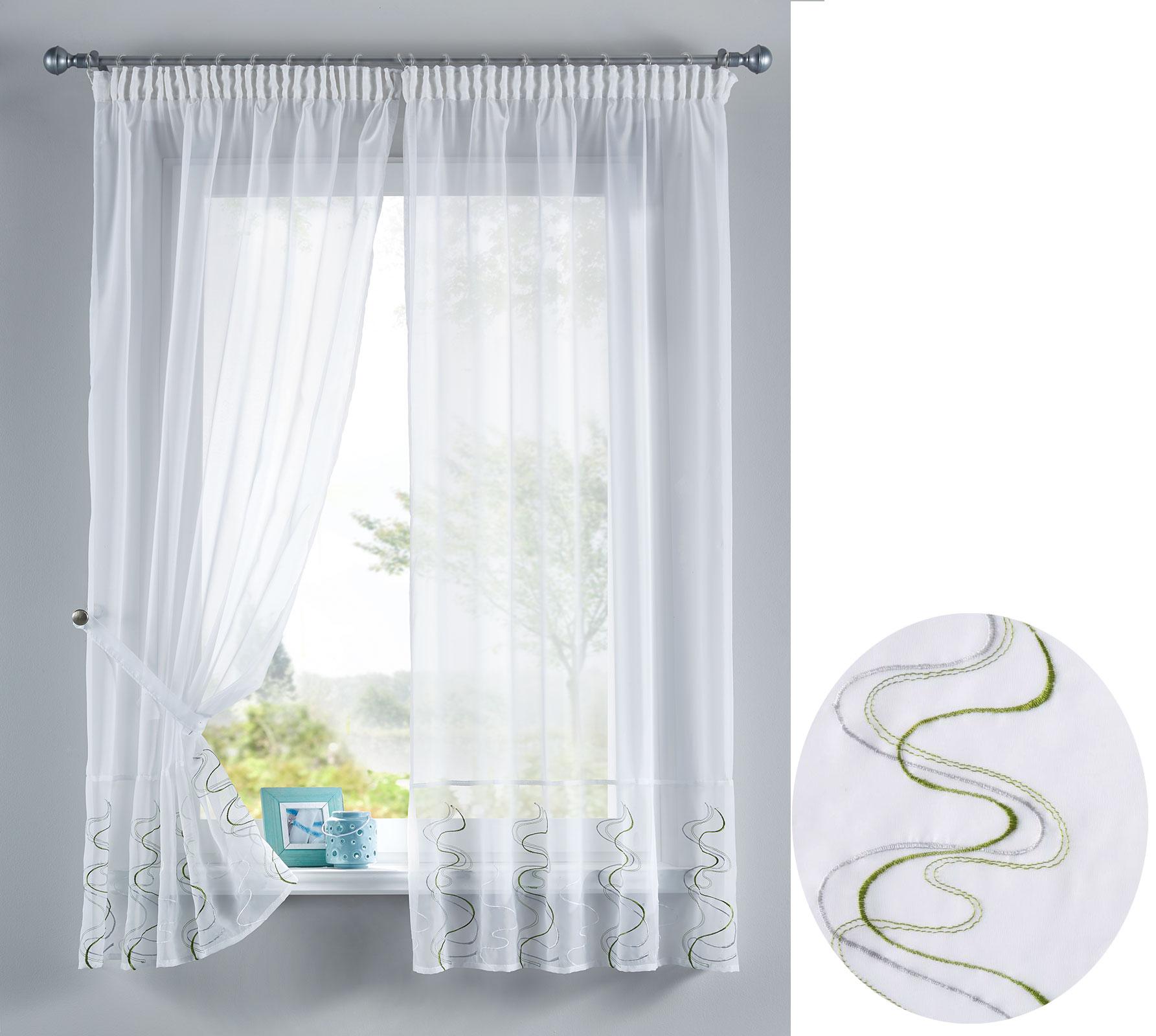 welle stickerei gardinen set 4 tlg scheiben tunneldurchzug ebay. Black Bedroom Furniture Sets. Home Design Ideas