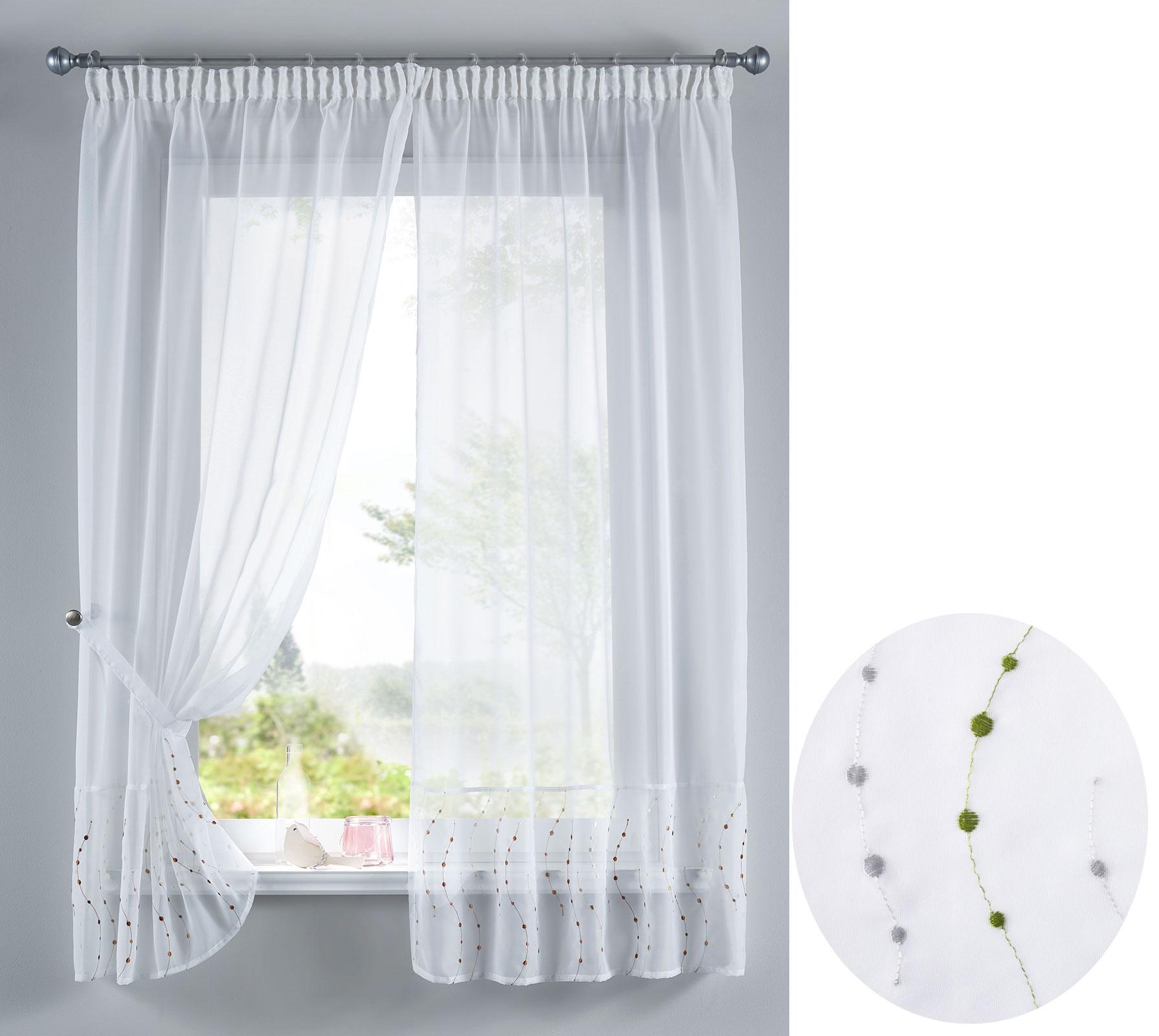 punkt stickerei gardinen set 4 tlg tunneldurchzug gardinenband 112232 ebay. Black Bedroom Furniture Sets. Home Design Ideas