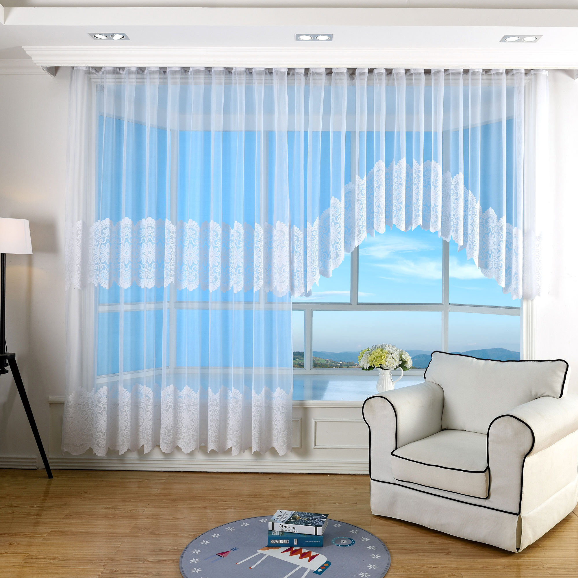 jacquard bogen store fertig gardine 240x450 ebay. Black Bedroom Furniture Sets. Home Design Ideas