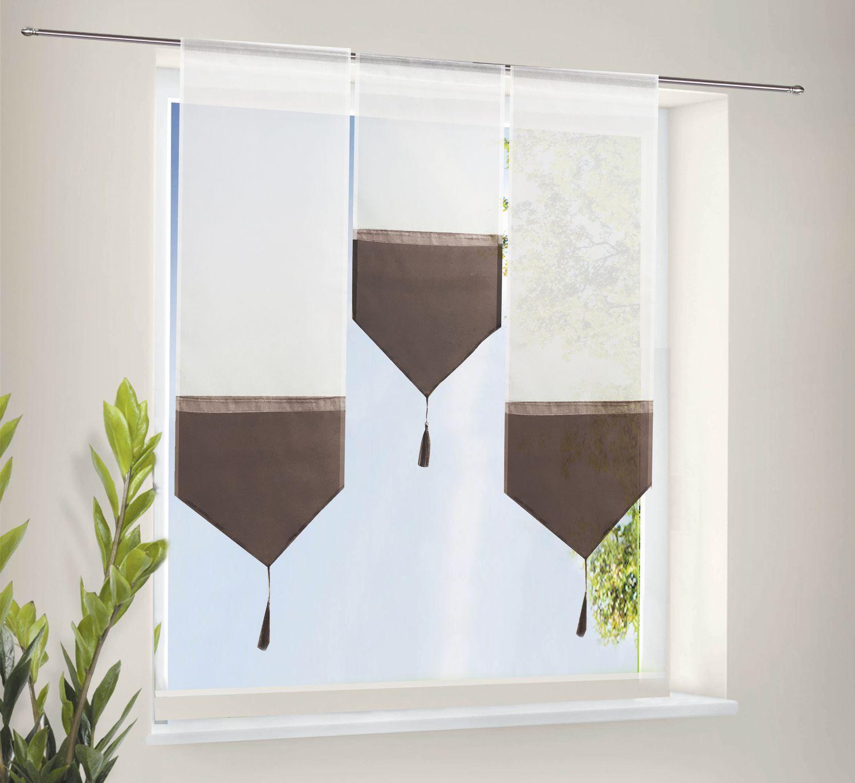 scheiben gardinen set 3 teile transparent tunneldurchzug braun ebay. Black Bedroom Furniture Sets. Home Design Ideas