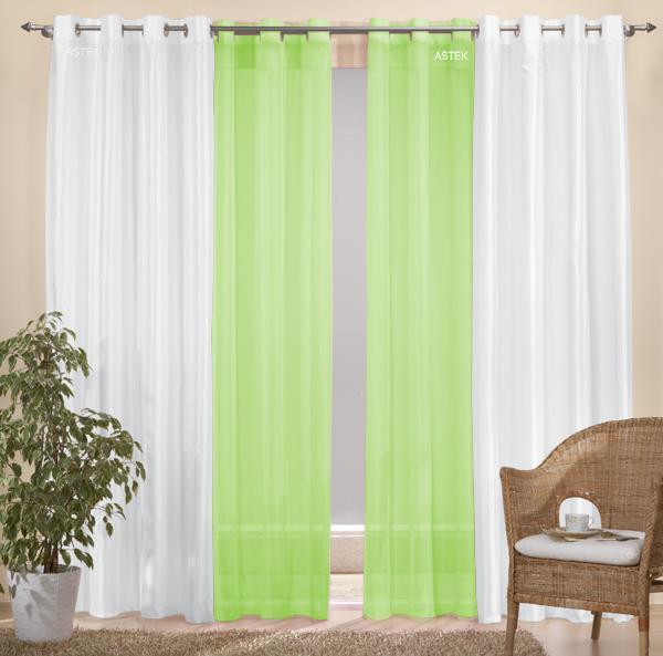 sen gardinen set 20330 wei 245x140 20332 gr n 245x140 ebay. Black Bedroom Furniture Sets. Home Design Ideas