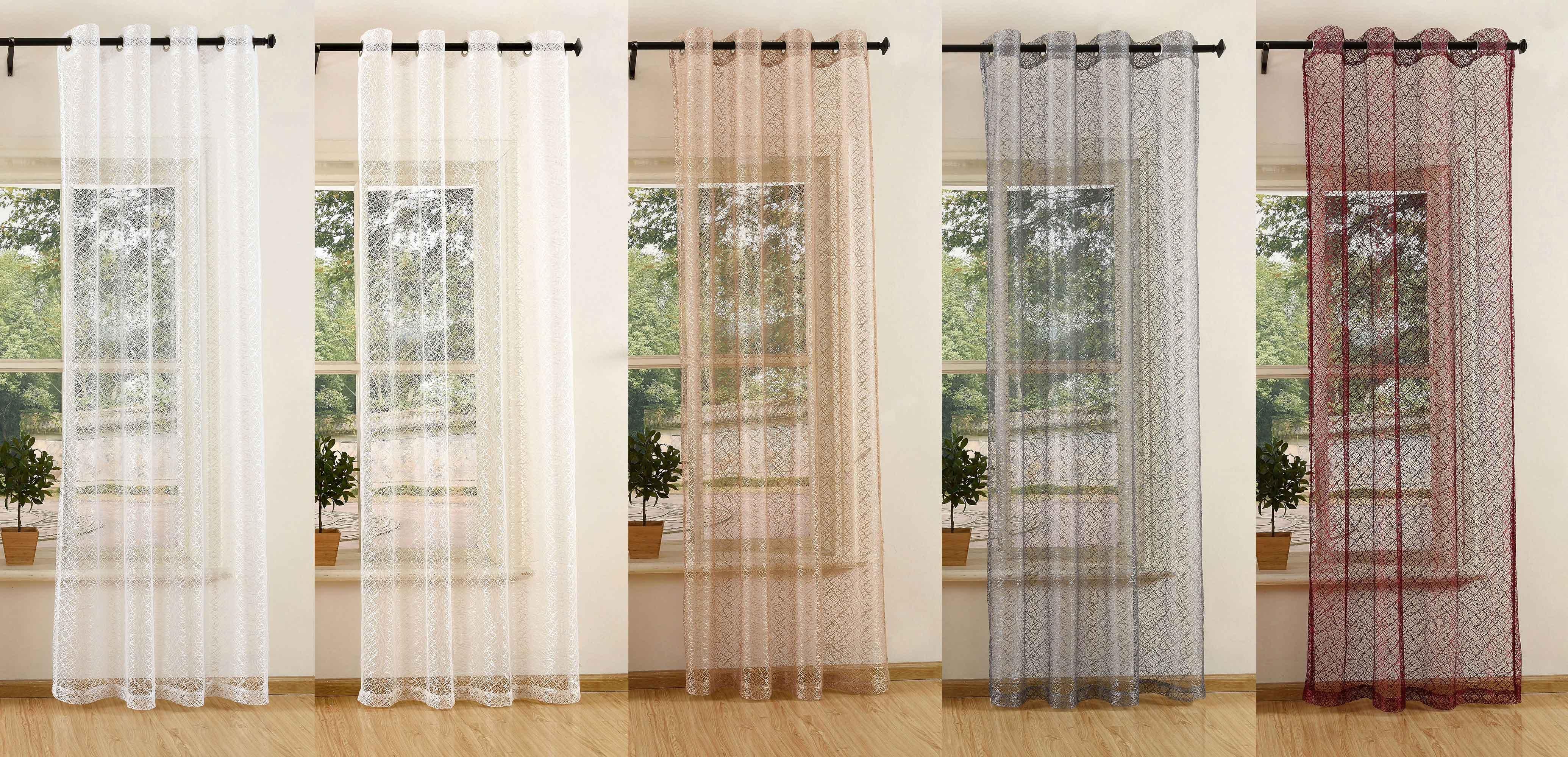 gardine netzvorhang mit sen einfarbig transparent 245x140. Black Bedroom Furniture Sets. Home Design Ideas