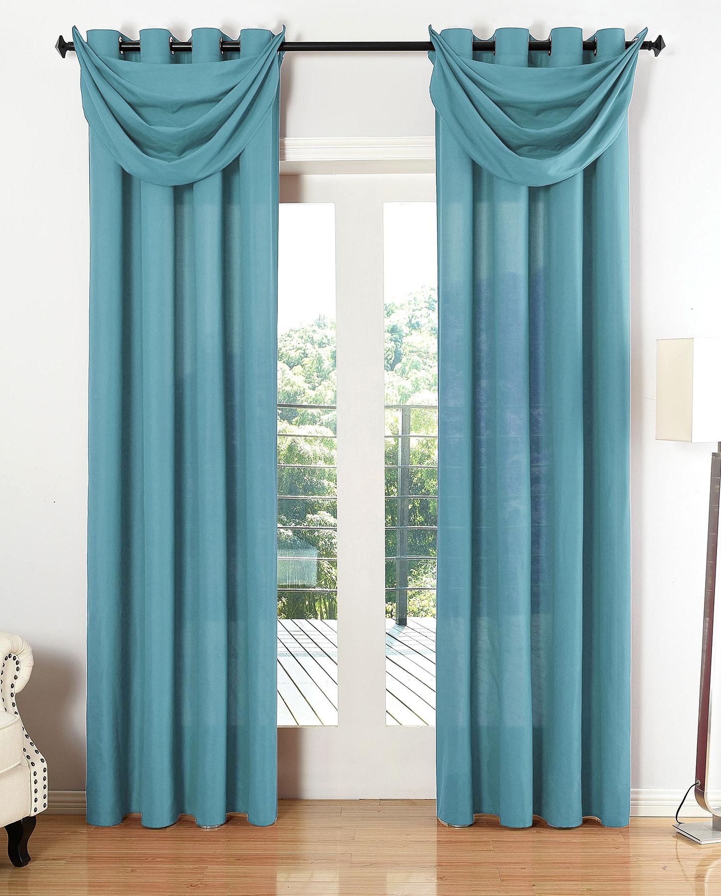 vorhang set 6 teilig blickdicht schal gardine sen microsatin segel querbehang ebay. Black Bedroom Furniture Sets. Home Design Ideas