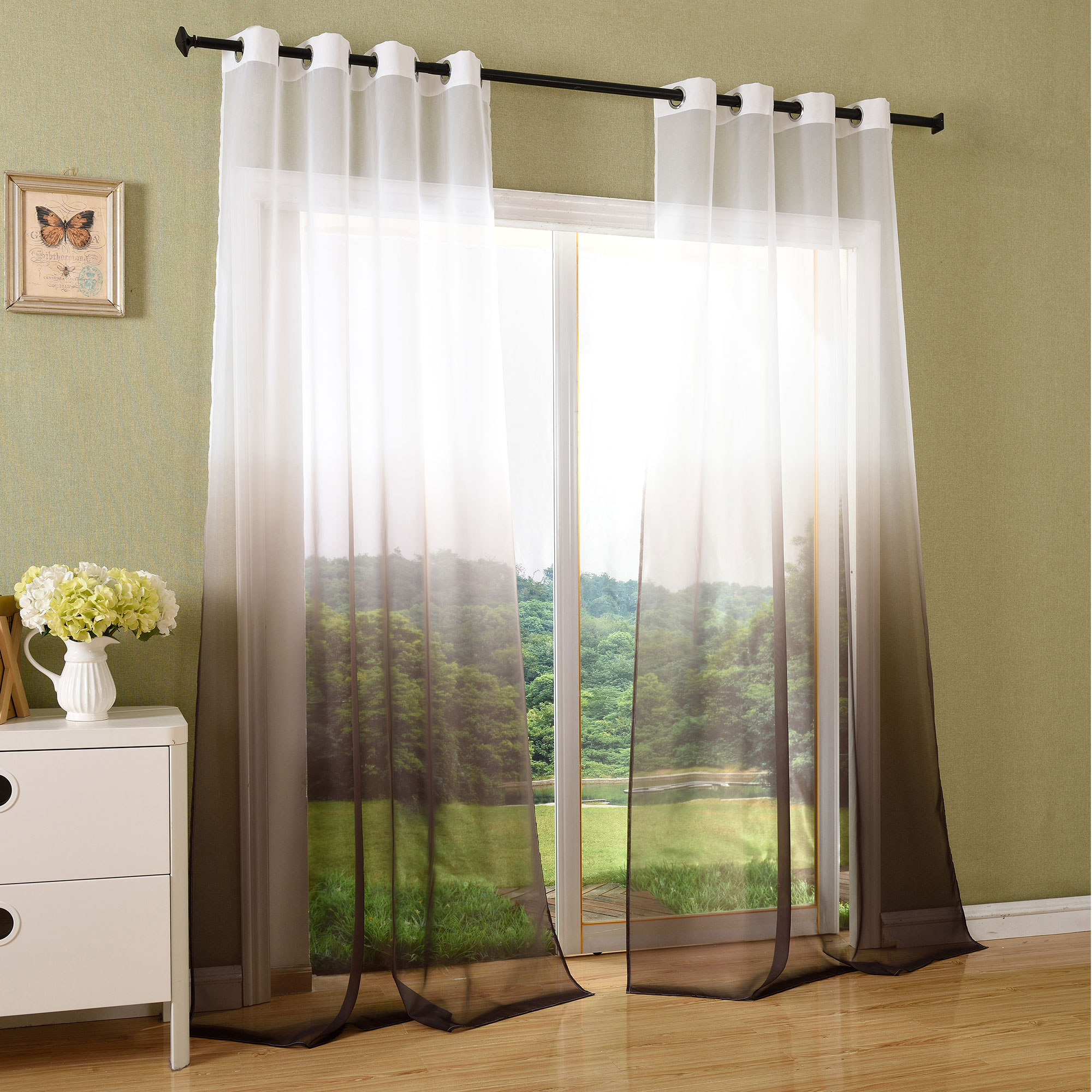 vorhang transparent schal sen gardine voile farbverlauf 204202 ebay. Black Bedroom Furniture Sets. Home Design Ideas