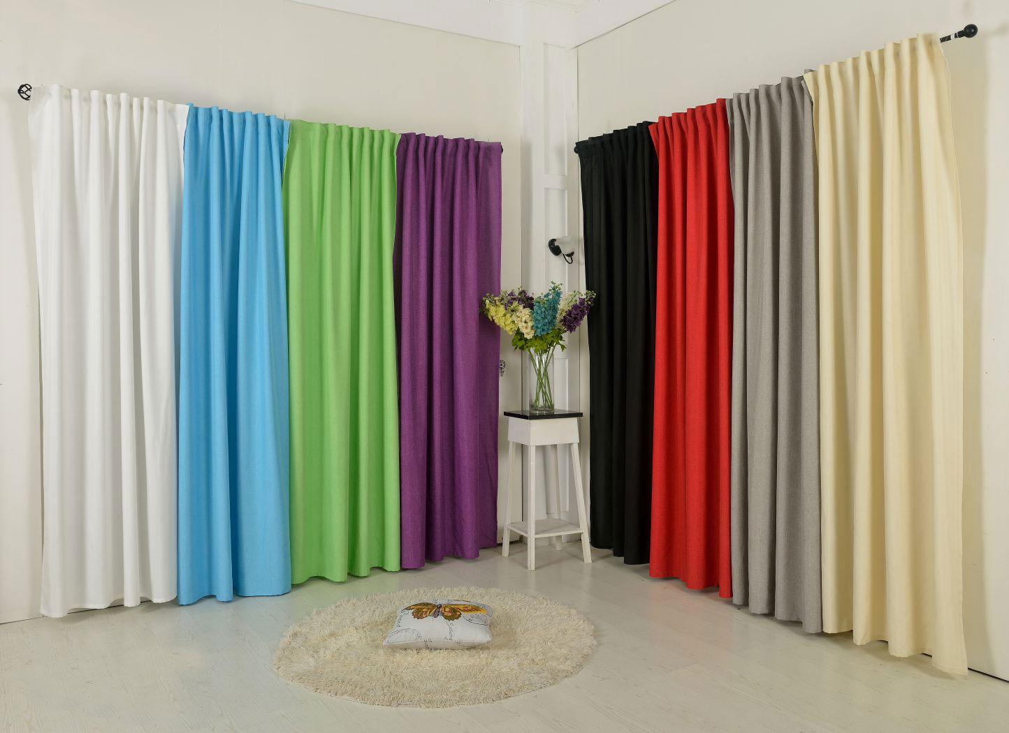 vorhang schlaufen schal t rkis leinen optik grobfaser 1. Black Bedroom Furniture Sets. Home Design Ideas