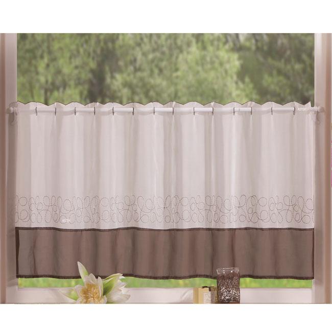 voile scheiben gardine mit stickerei transparent braun 40x120 hxb cm ebay. Black Bedroom Furniture Sets. Home Design Ideas