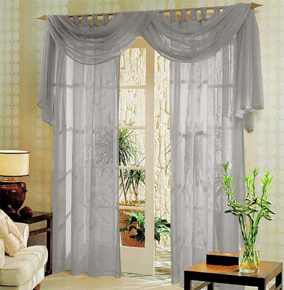 voile komplett gardinen set 3tlg 60999 ebay. Black Bedroom Furniture Sets. Home Design Ideas