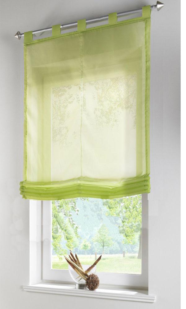 raffrollo transparent uni aus voile mit schlaufen 170x80 hxb apfelgr n ebay. Black Bedroom Furniture Sets. Home Design Ideas