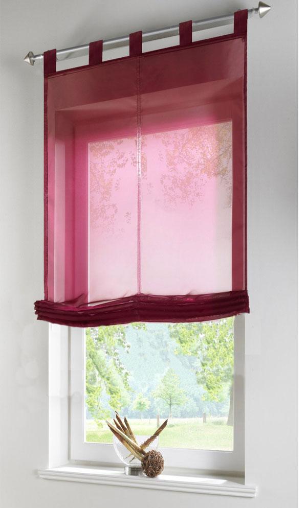 raffrollo transparent uni aus voile mit schlaufen 140x60 hxb bordeaux ebay. Black Bedroom Furniture Sets. Home Design Ideas