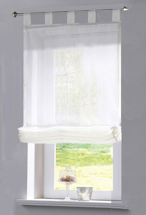 raffrollo transparent uni aus voile mit schlaufen 140x60 hxb wei 4041984912398 ebay. Black Bedroom Furniture Sets. Home Design Ideas
