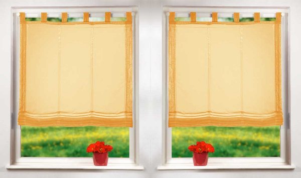raffrollo set mit schlaufen 61008 orange 160x60 4041984710970 ebay. Black Bedroom Furniture Sets. Home Design Ideas