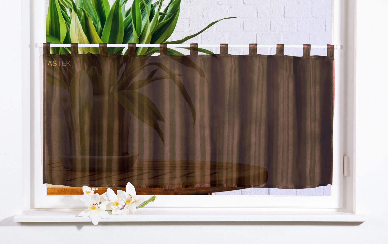 scheibengardine uni voile 50x160 braun ebay. Black Bedroom Furniture Sets. Home Design Ideas