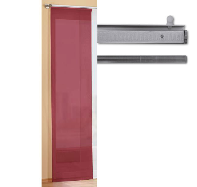 fl chenvorhang schiebegardine transparent mit alu paneelwagen 85589alu ebay. Black Bedroom Furniture Sets. Home Design Ideas