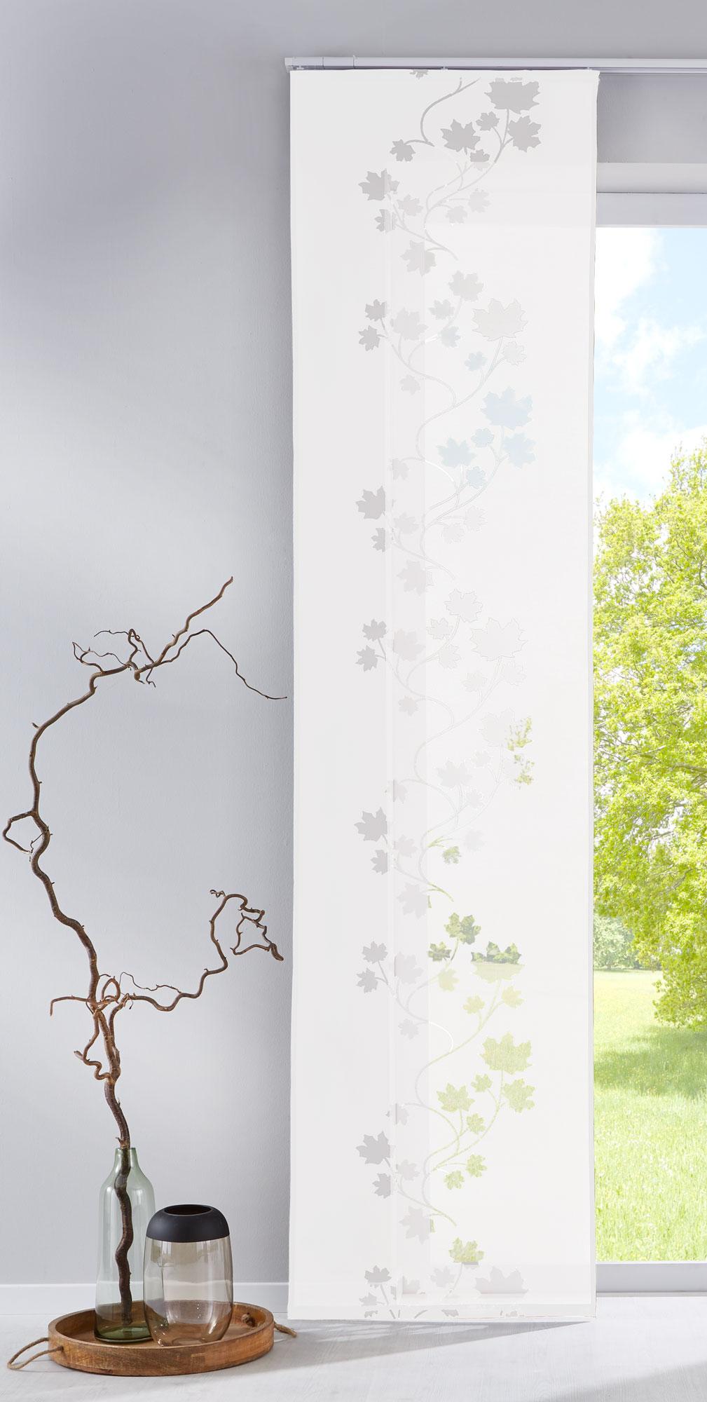 fl chenvorhang schiebegardine mit klettband ausbrenner leaf 85610 ebay. Black Bedroom Furniture Sets. Home Design Ideas
