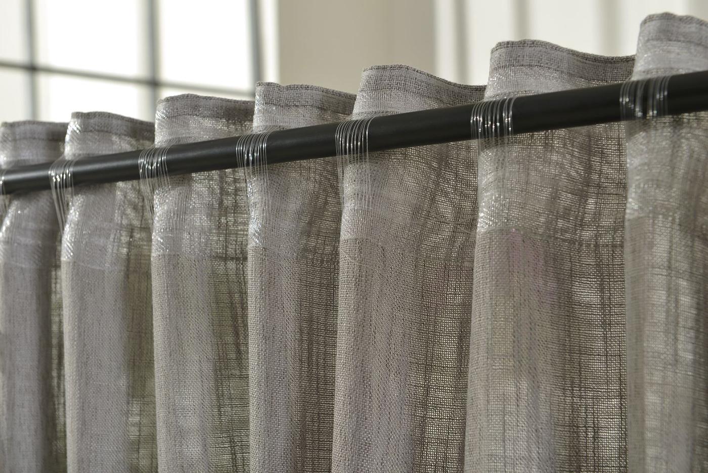 vorhang schlaufen linene blickdicht leinen grob optik 245x140 hxb grau ebay. Black Bedroom Furniture Sets. Home Design Ideas