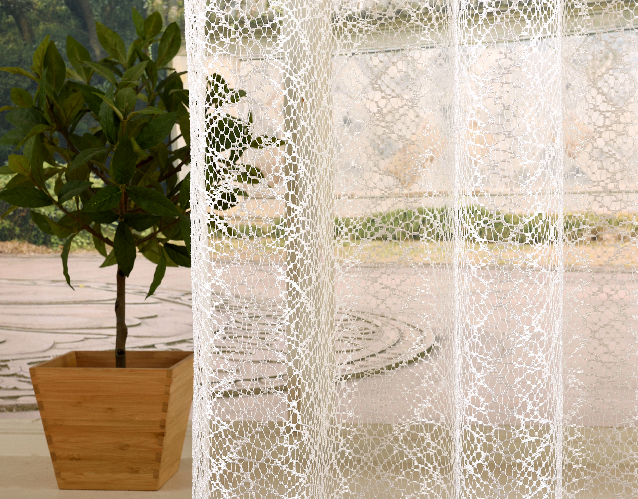 Gardine Netzvorhang Mit Sen Einfarbig Transparent
