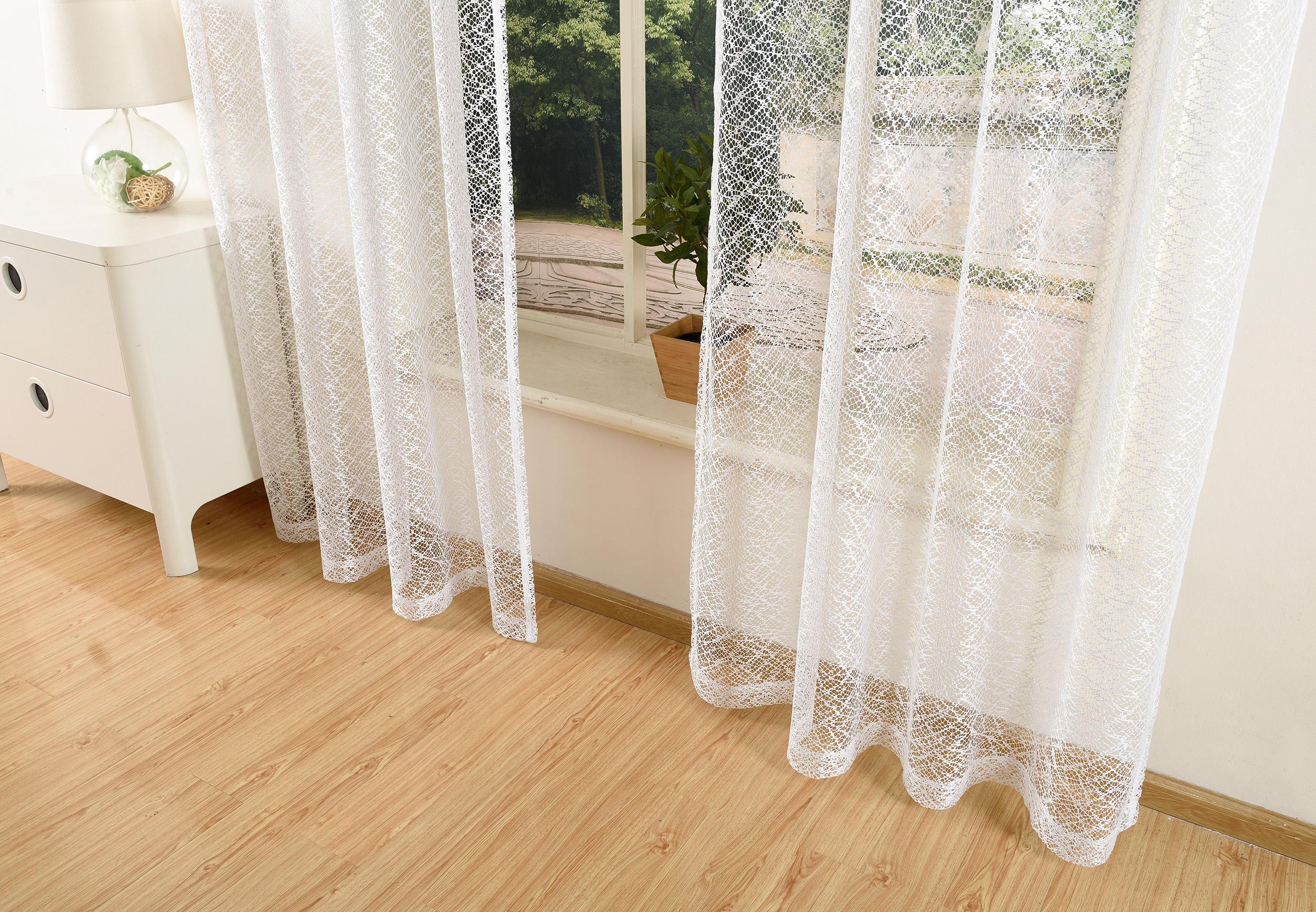 gardine netzvorhang mit sen einfarbig transparent 245x140 wei ebay. Black Bedroom Furniture Sets. Home Design Ideas
