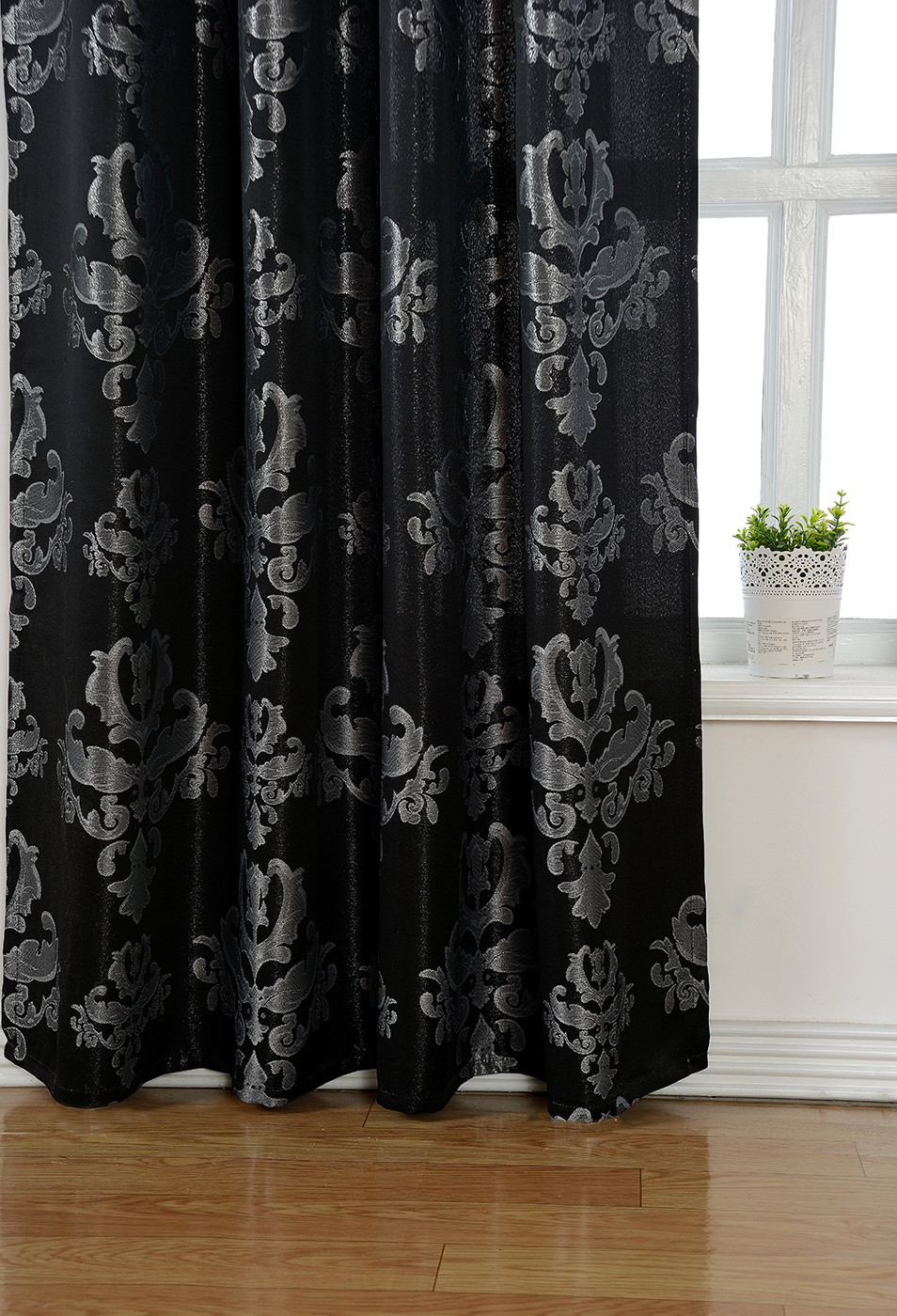 vorhang jacquard gardine verdeckte schlaufen barock lurex schwarz silber 245x140 ebay. Black Bedroom Furniture Sets. Home Design Ideas