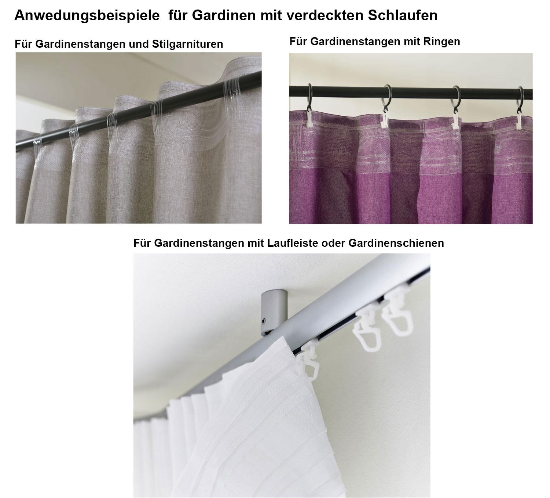 Vorhang Schal Schlaufen blickdicht Leinen Optik Chenille Streifen